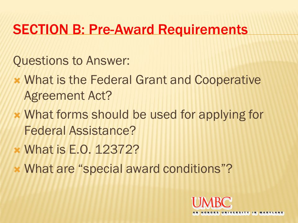 SECTION B: Pre-Award Requirements