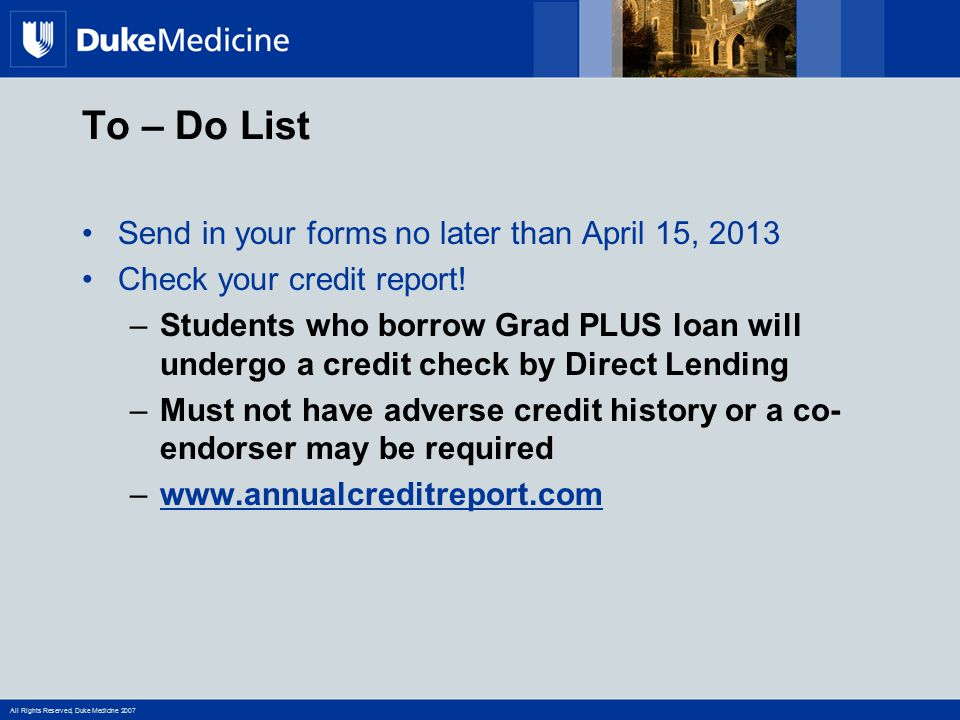 To – Do List Send in your forms no later than April 15, 2013