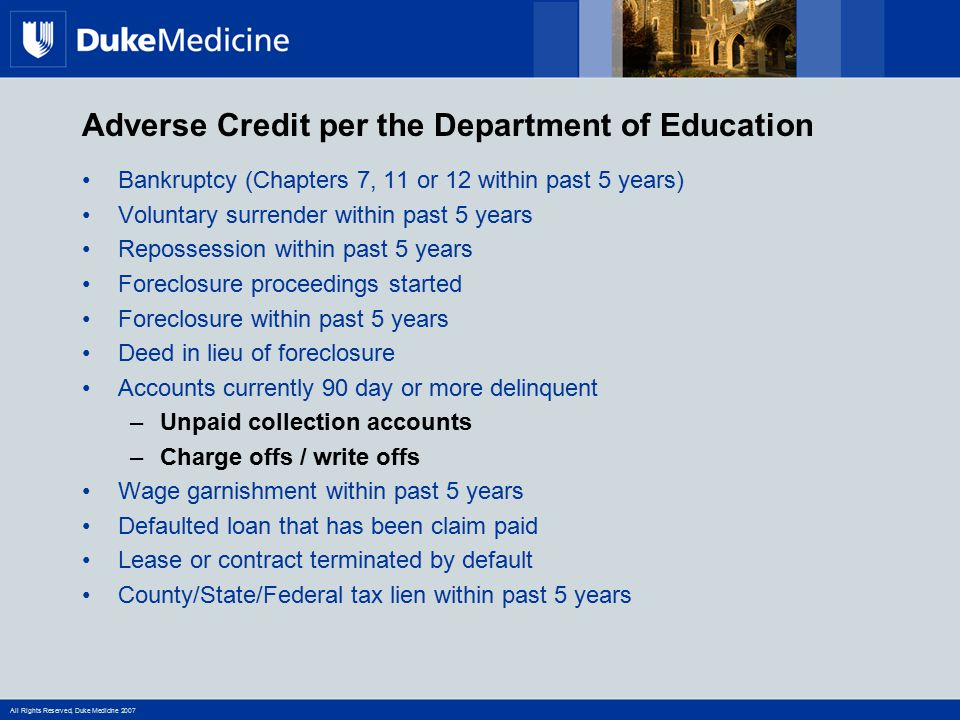 Adverse Credit per the Department of Education