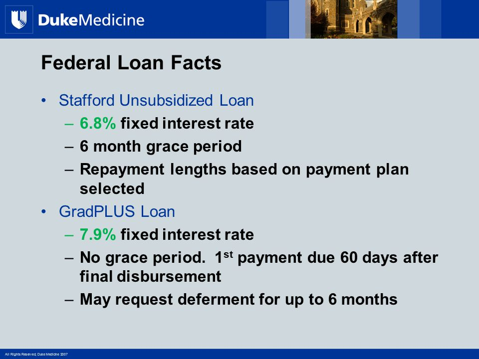 Federal Loan Facts Stafford Unsubsidized Loan 6.8% fixed interest rate
