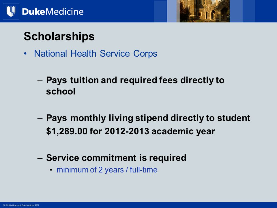 Scholarships National Health Service Corps
