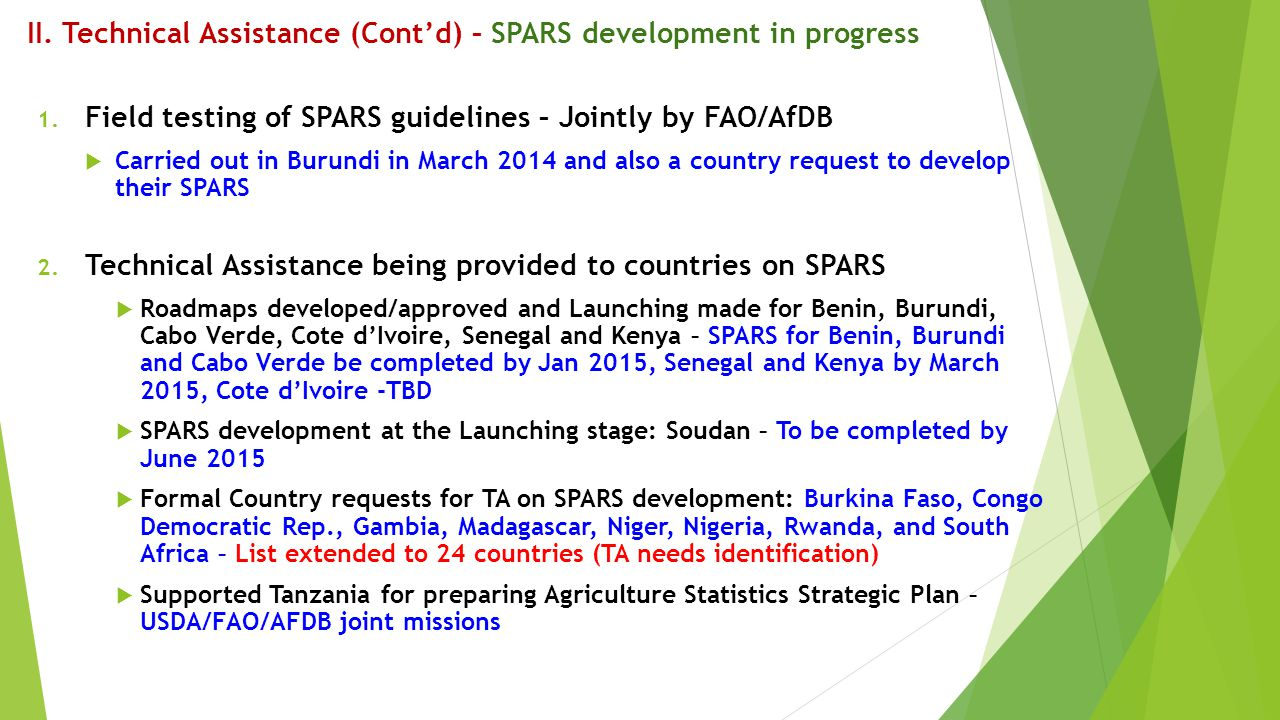 II. Technical Assistance (Cont'd) – SPARS development in progress