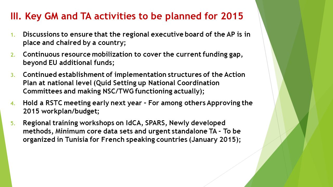 III. Key GM and TA activities to be planned for 2015
