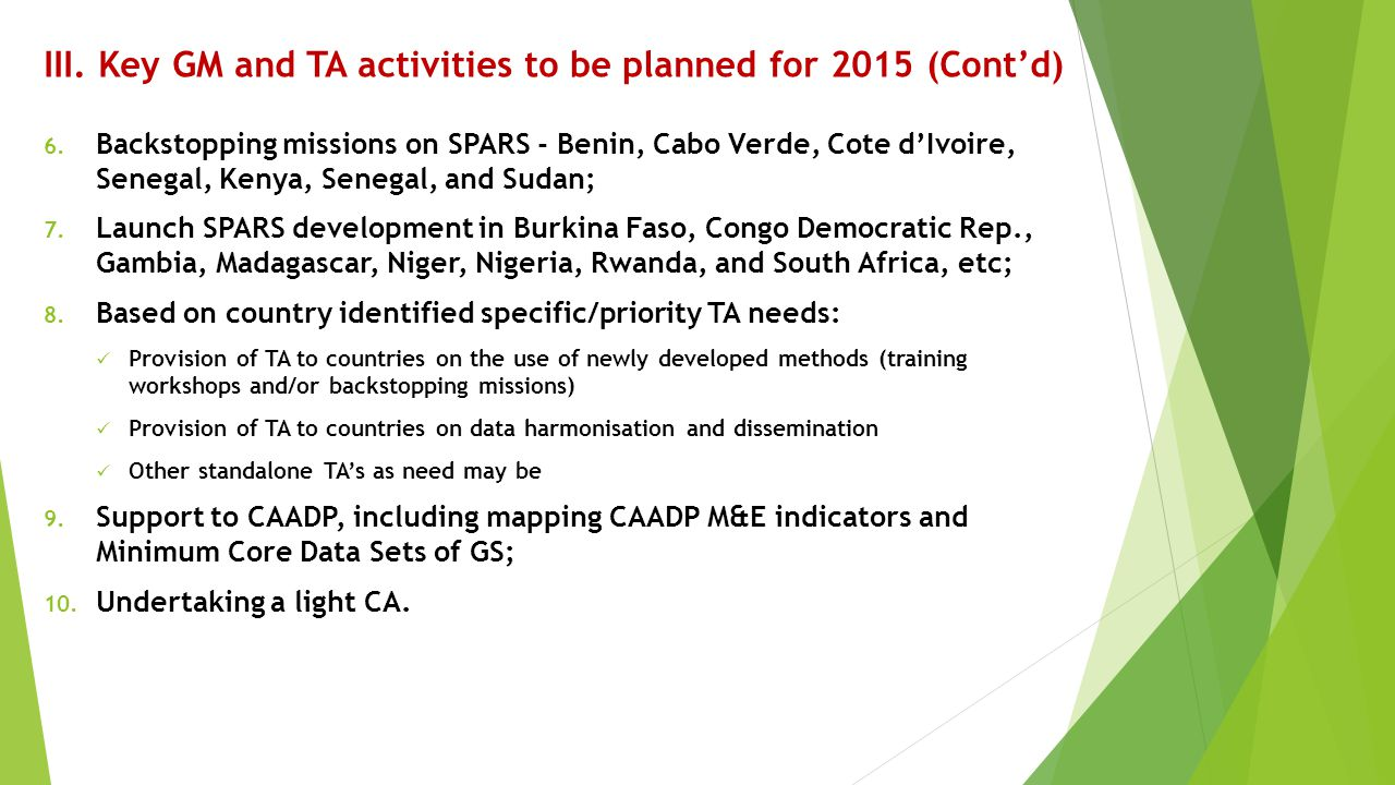 III. Key GM and TA activities to be planned for 2015 (Cont'd)