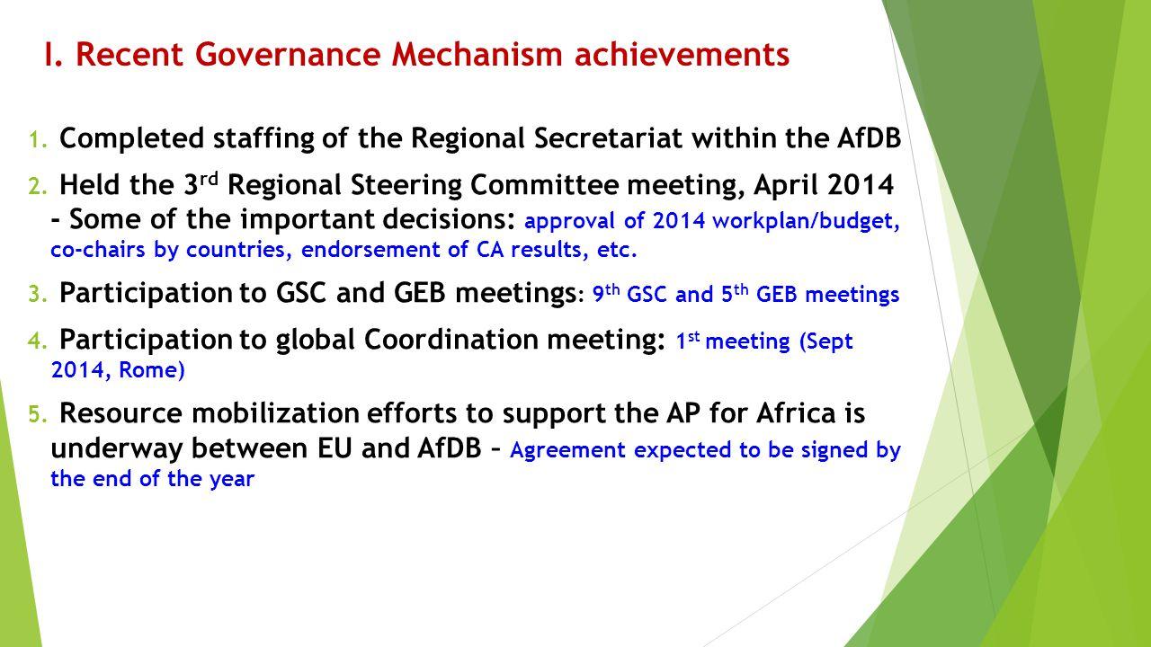 I. Recent Governance Mechanism achievements