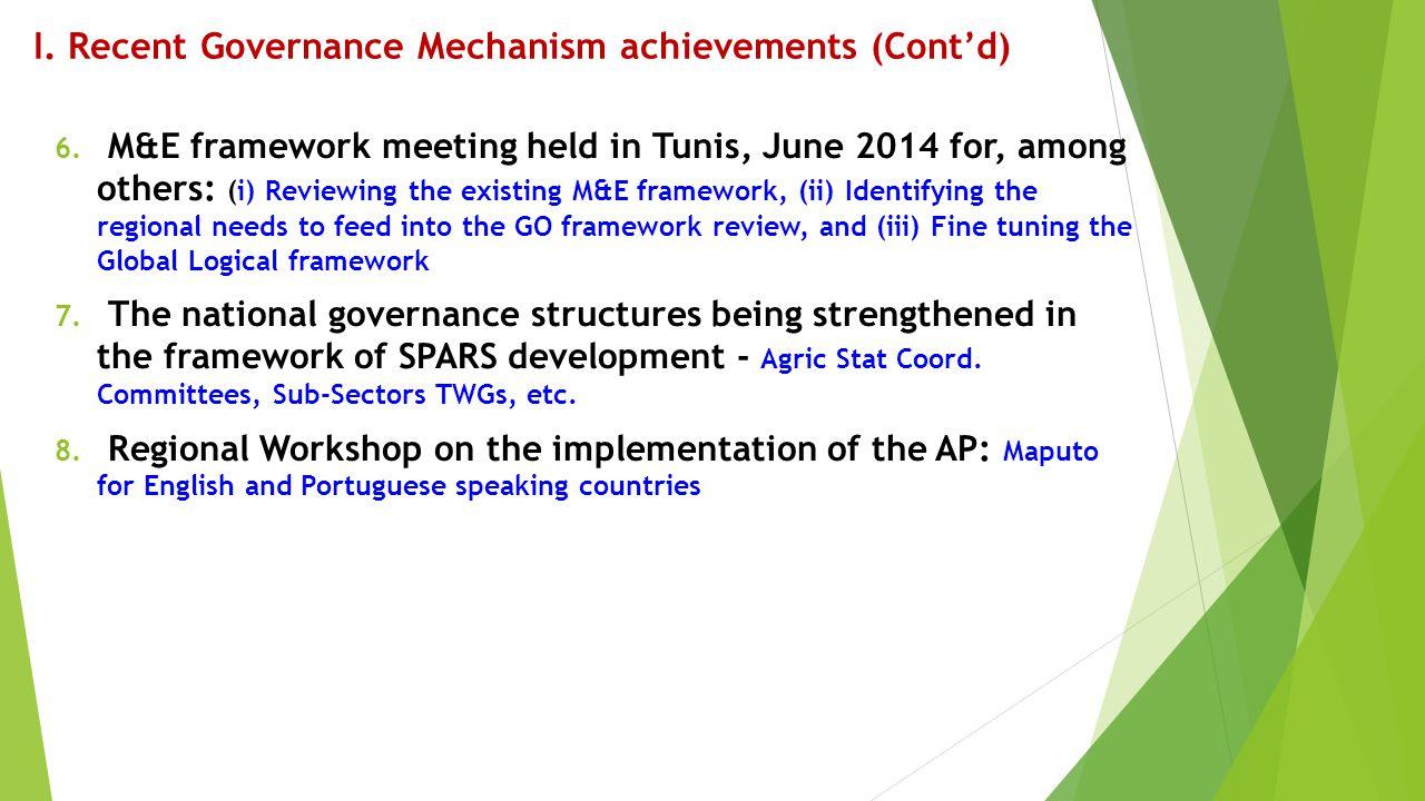 I. Recent Governance Mechanism achievements (Cont'd)