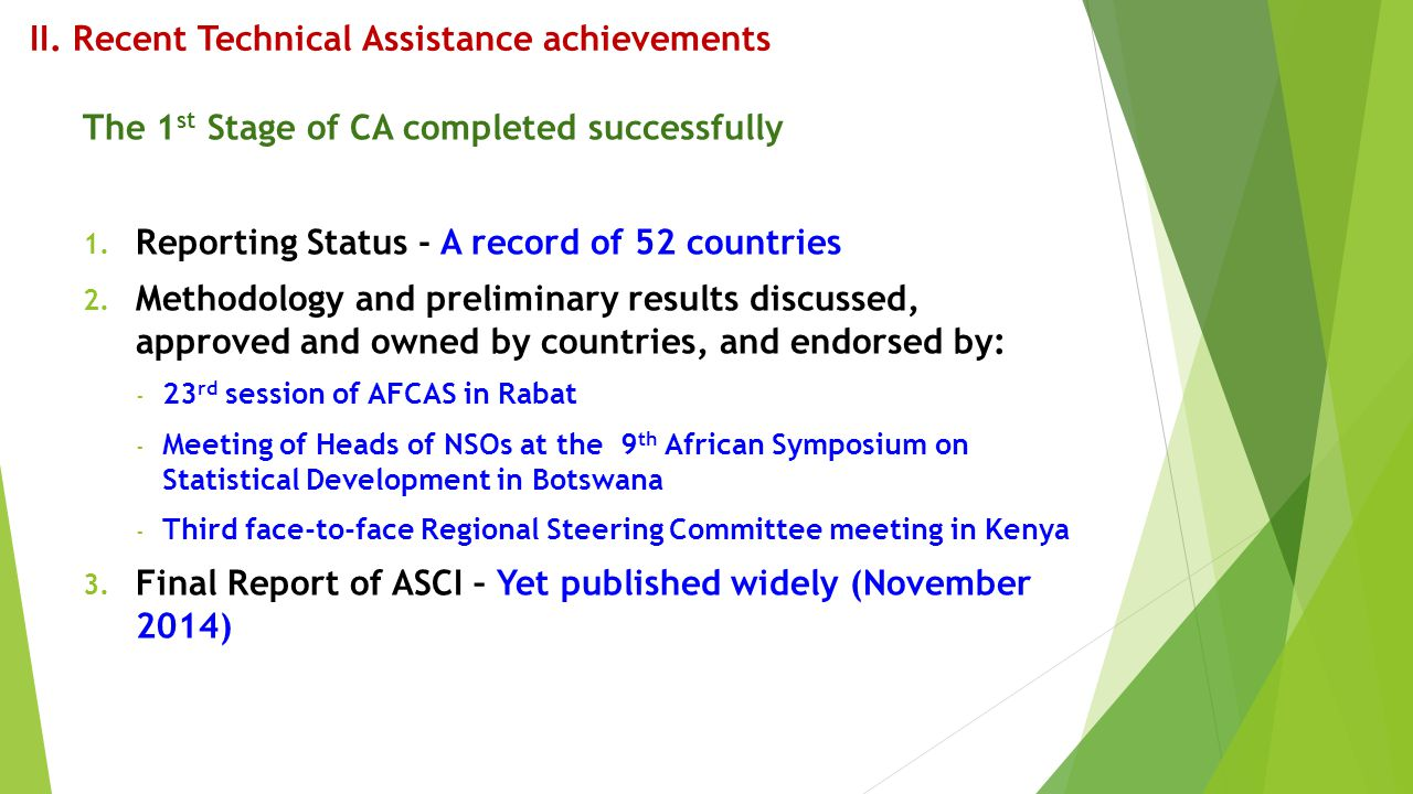 II. Recent Technical Assistance achievements