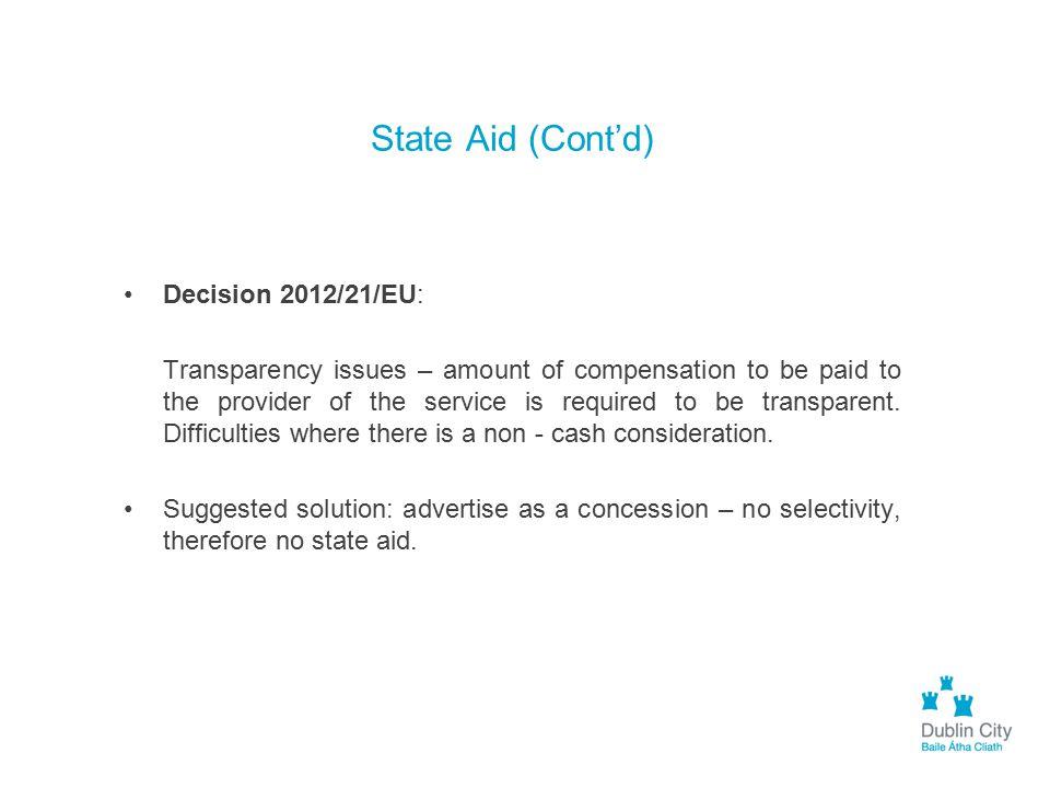State Aid (Cont'd) Decision 2012/21/EU: