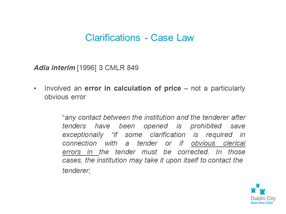 Clarifications - Case Law