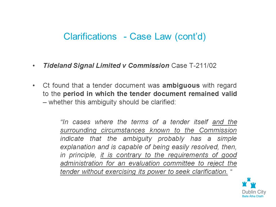 Clarifications - Case Law (cont'd)
