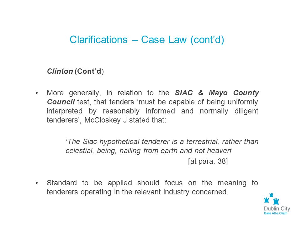 Clarifications – Case Law (cont'd)