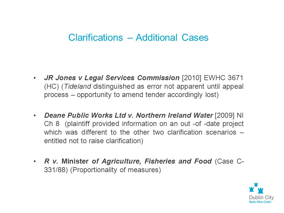 Clarifications – Additional Cases