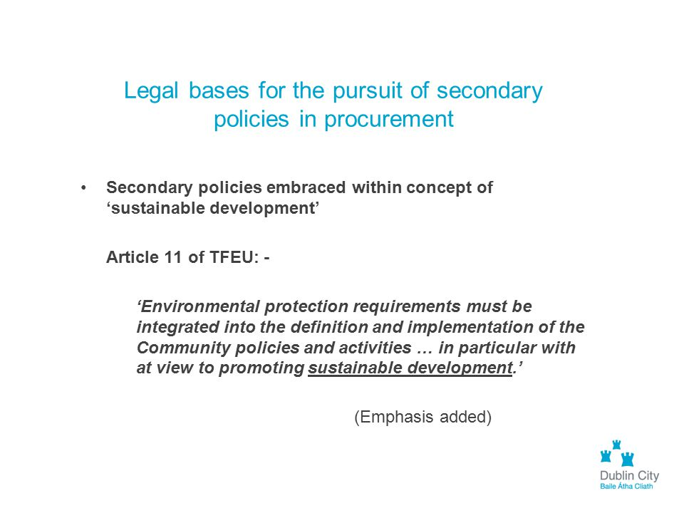 Legal bases for the pursuit of secondary policies in procurement