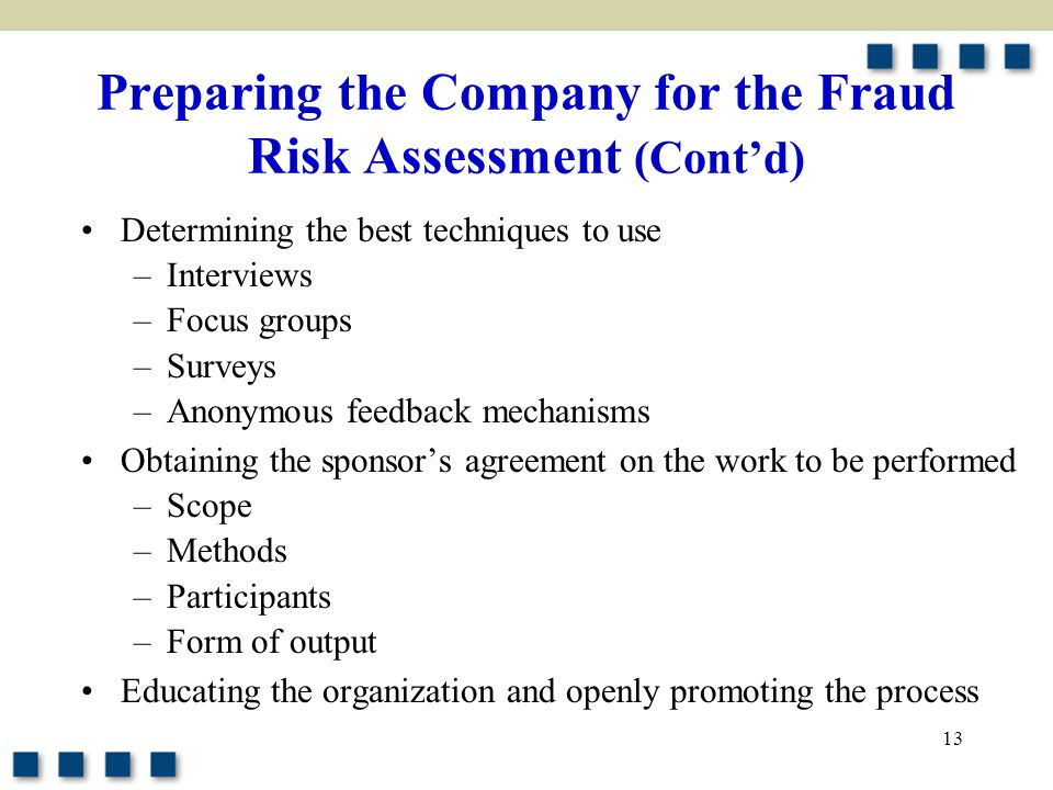 Preparing the Company for the Fraud Risk Assessment (Cont'd)