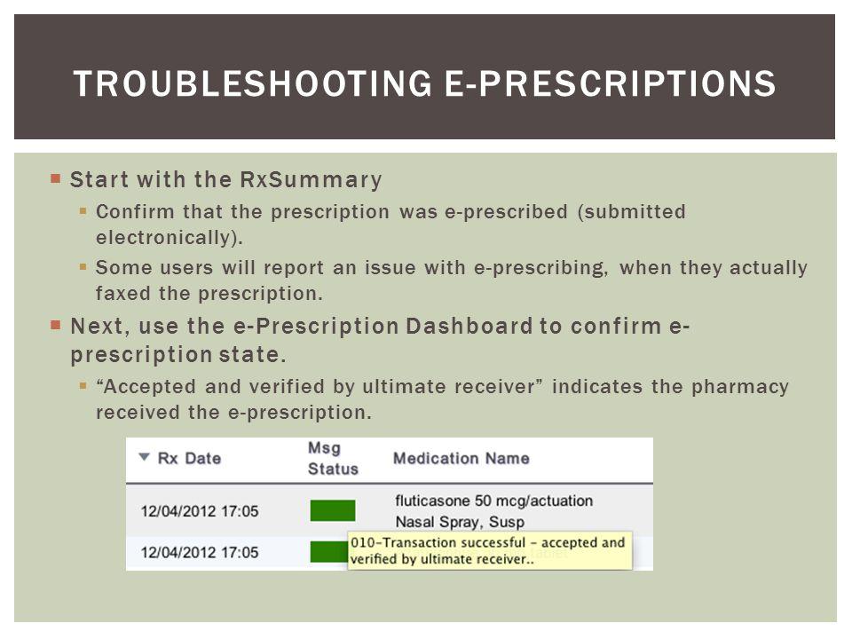 Troubleshooting E-prescriptions
