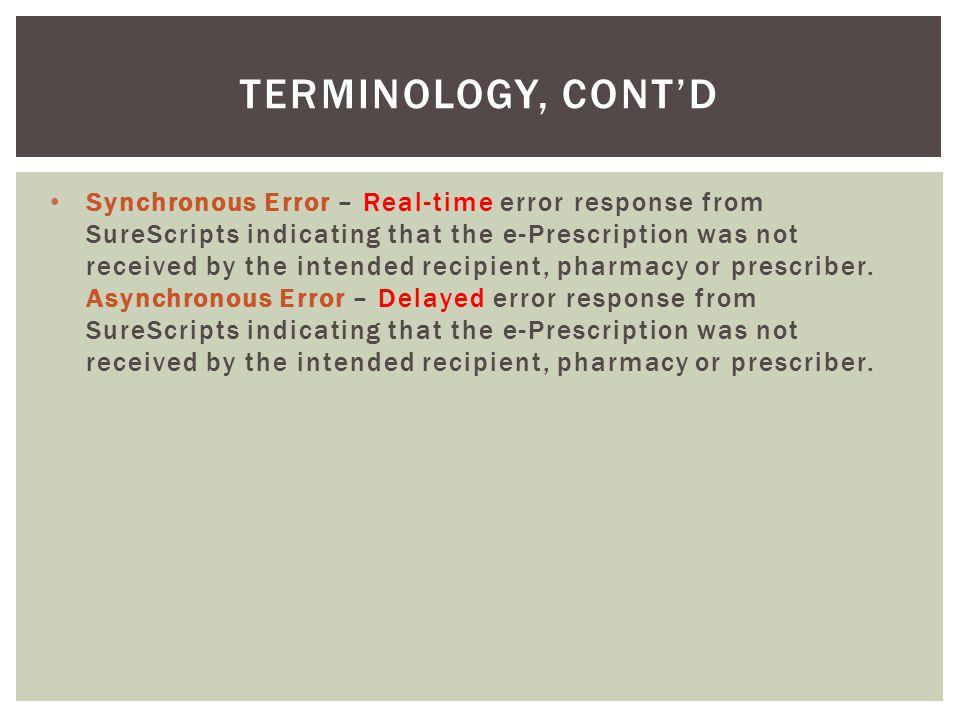 Terminology, cont'd