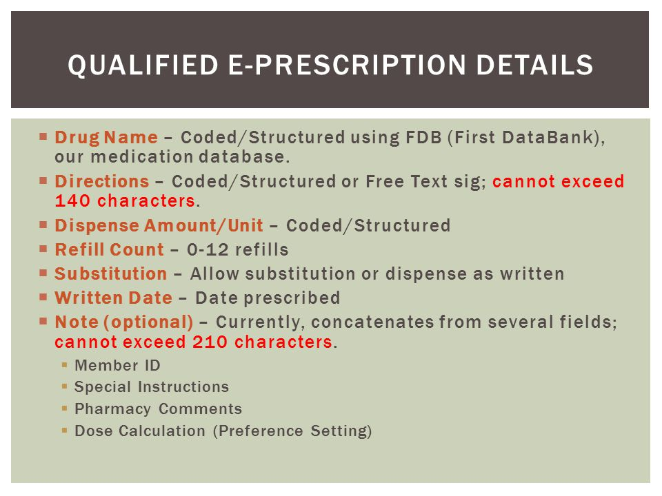 Qualified E-Prescription Details