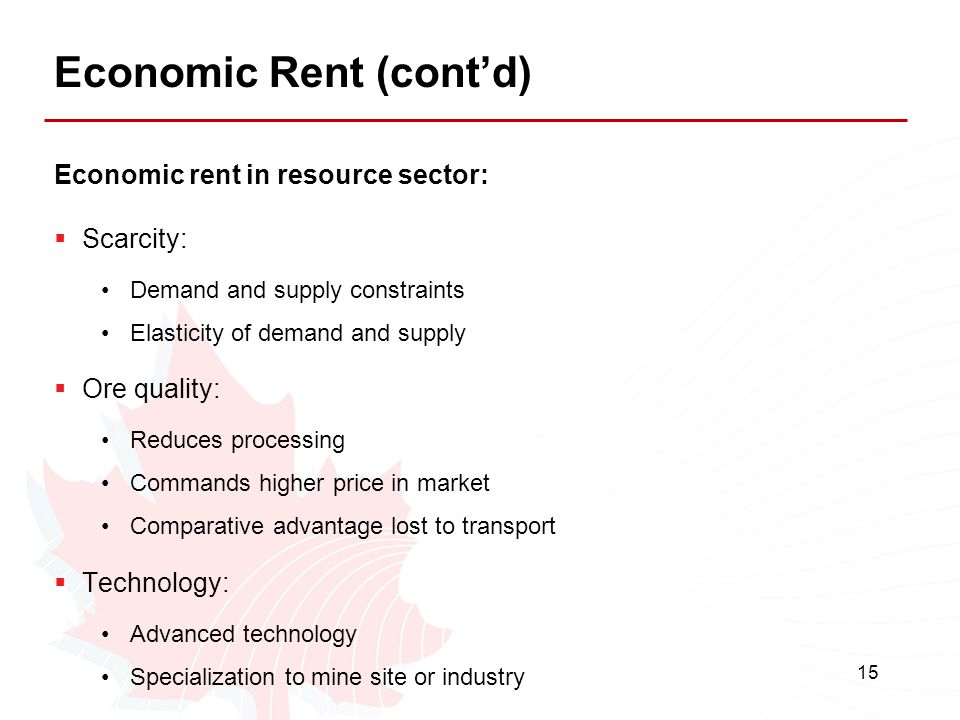 Economic Rent (cont'd)