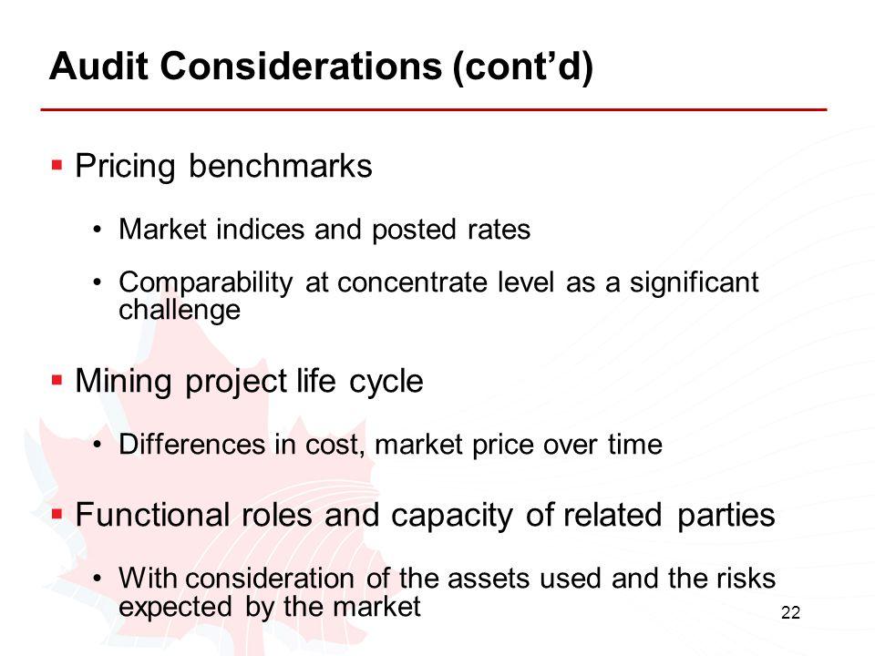 Audit Considerations (cont'd)