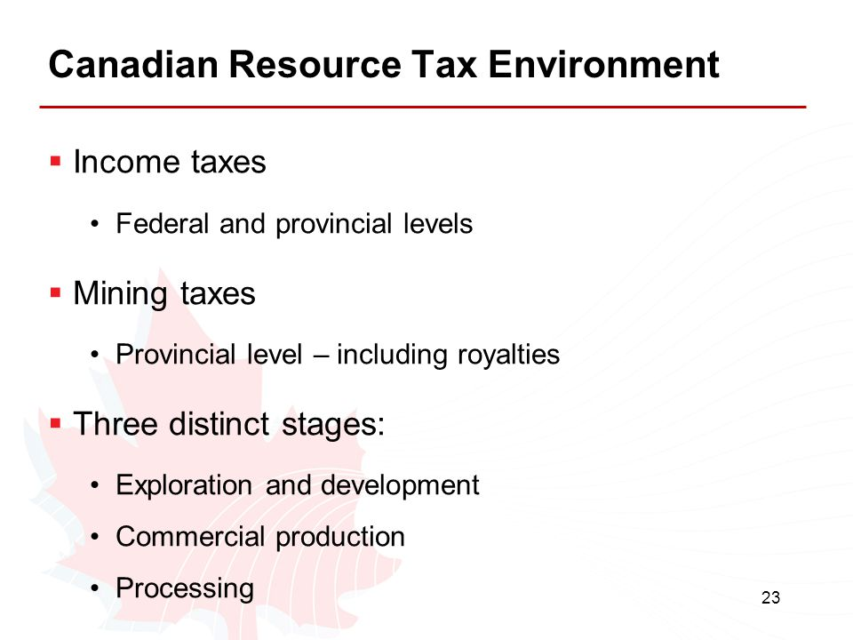 Canadian Resource Tax Environment