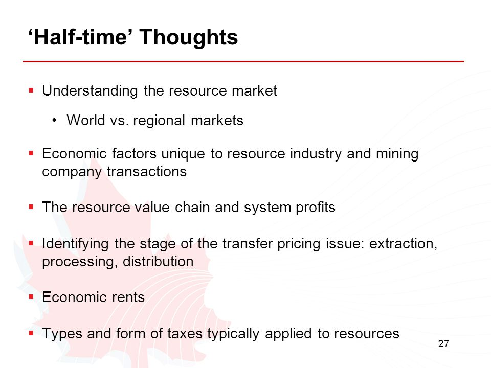 'Half-time' Thoughts Understanding the resource market