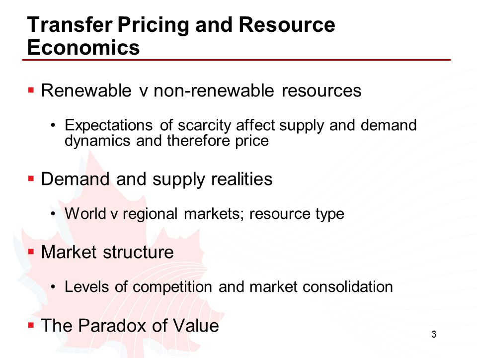 Transfer Pricing and Resource Economics