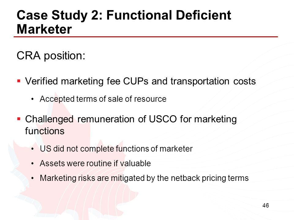 Case Study 2: Functional Deficient Marketer