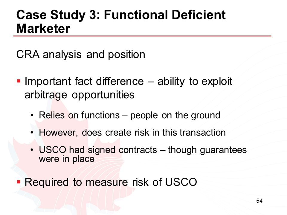 Case Study 3: Functional Deficient Marketer