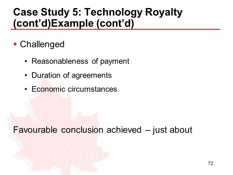 Case Study 5: Technology Royalty (cont'd)Example (cont'd)