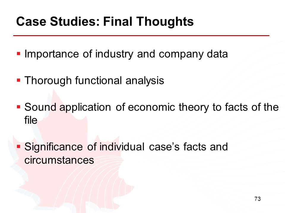 Case Studies: Final Thoughts