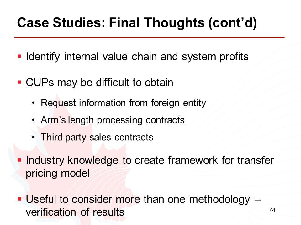 Case Studies: Final Thoughts (cont'd)