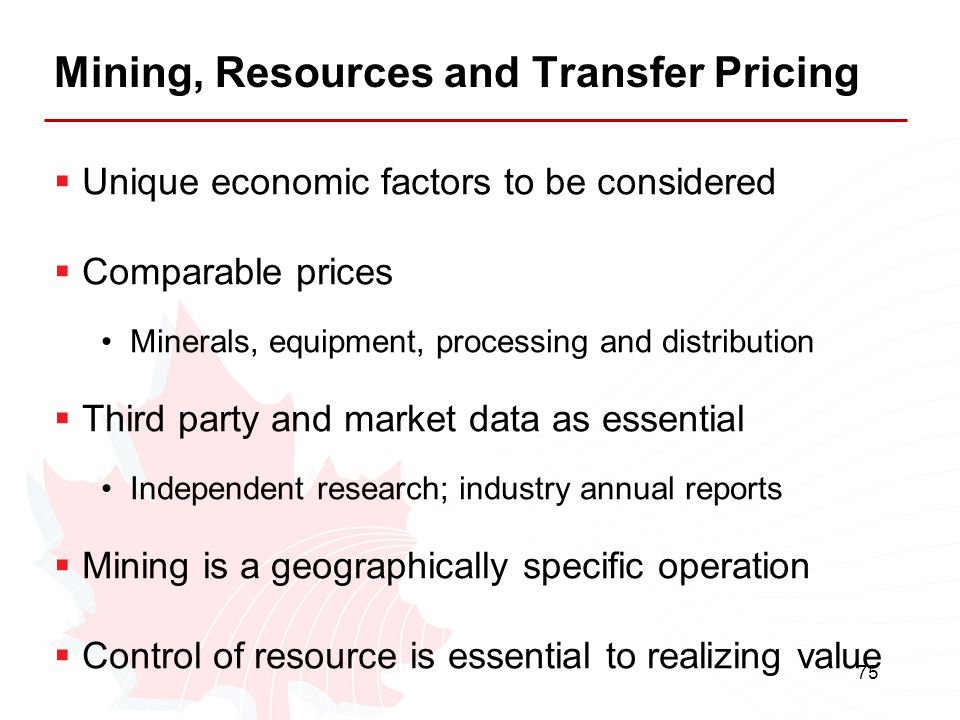 Mining, Resources and Transfer Pricing