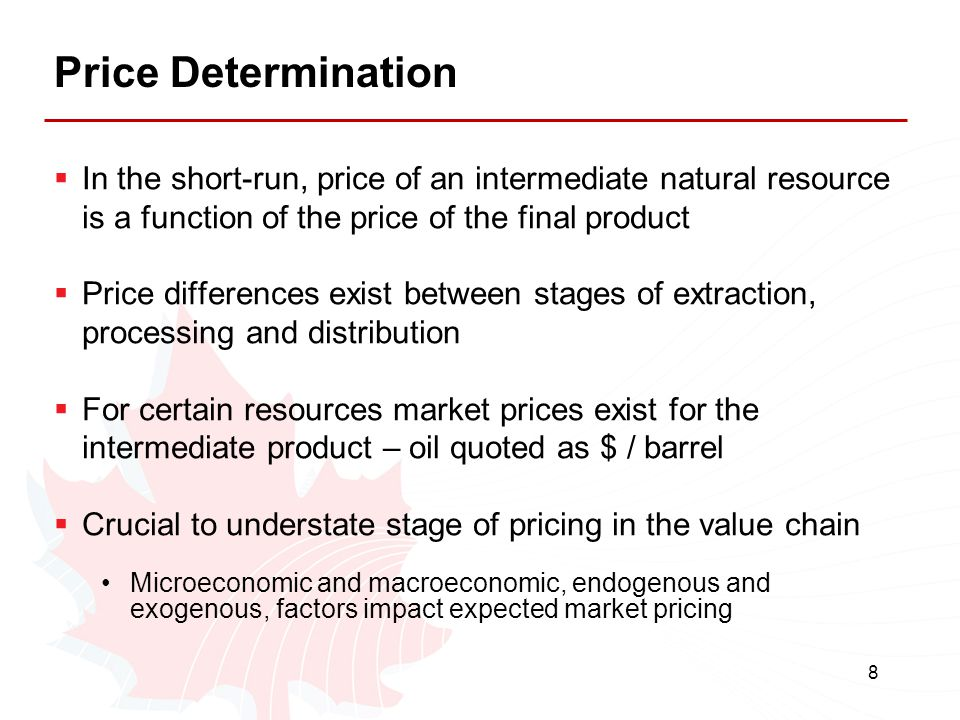 Price Determination In the short-run, price of an intermediate natural resource is a function of the price of the final product.