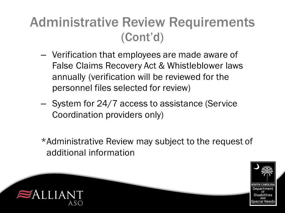 Administrative Review Requirements (Cont'd)