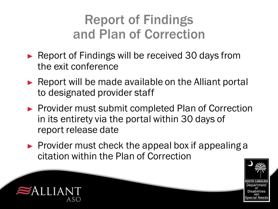 Report of Findings and Plan of Correction