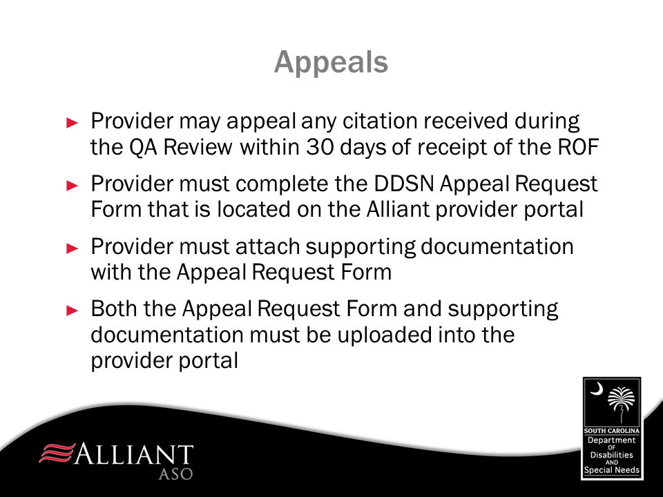 Appeals Provider may appeal any citation received during the QA Review within 30 days of receipt of the ROF.