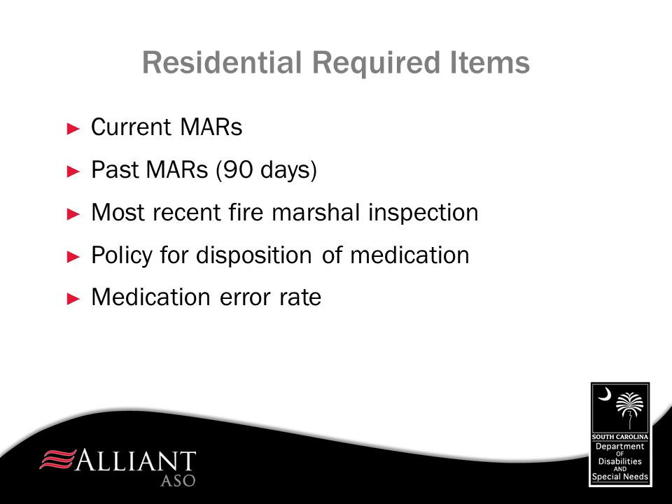 Residential Required Items