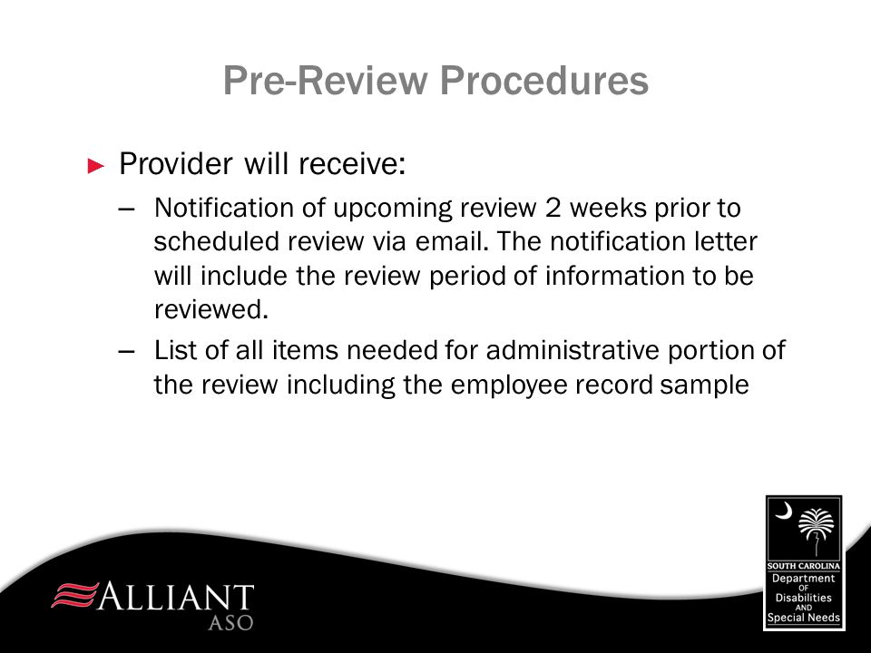 Pre-Review Procedures
