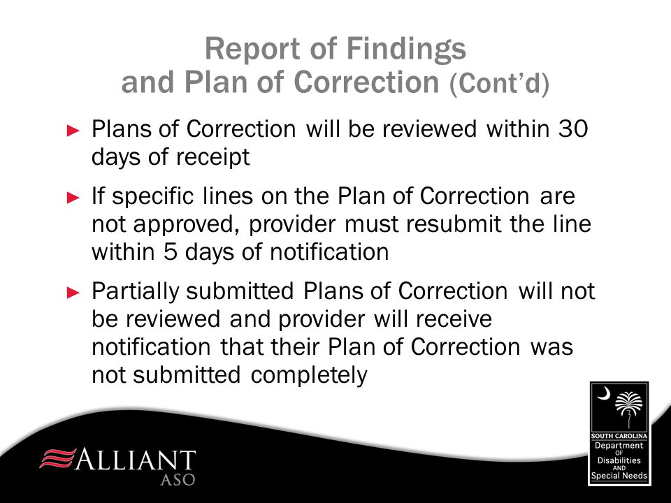 Report of Findings and Plan of Correction (Cont'd)