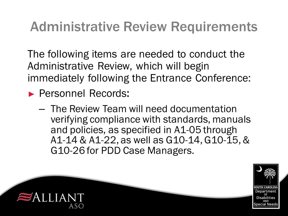 Administrative Review Requirements