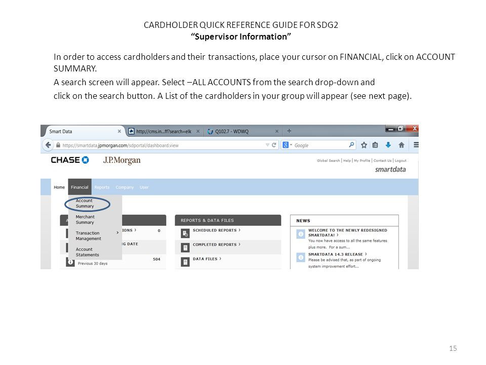 CARDHOLDER QUICK REFERENCE GUIDE FOR SDG2 Supervisor Information