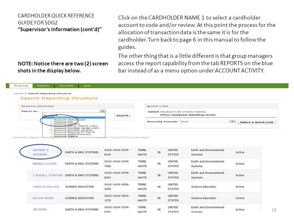 CARDHOLDER QUICK REFERENCE GUIDE FOR SDG2 Supervisor's Information (cont'd)