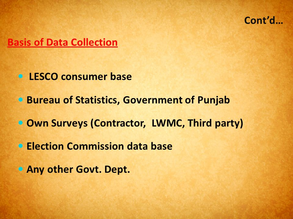 Basis of Data Collection