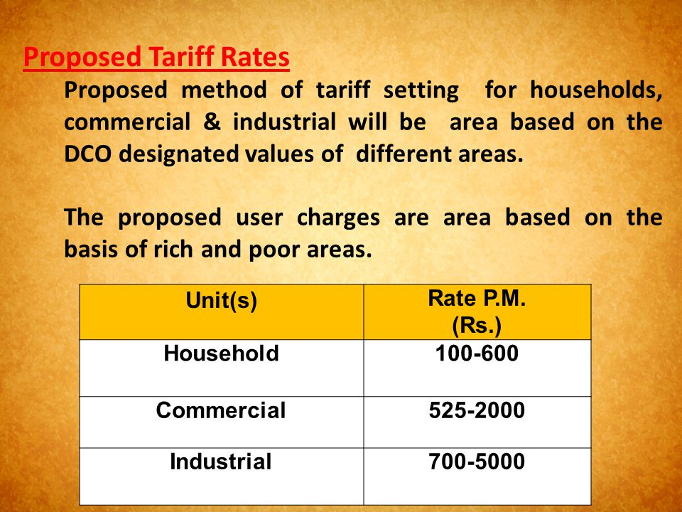 Proposed Tariff Rates