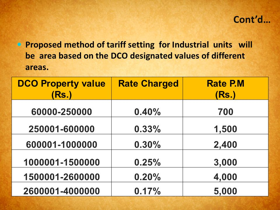 Cont'd… Proposed method of tariff setting for Industrial units will be area based on the DCO designated values of different areas.