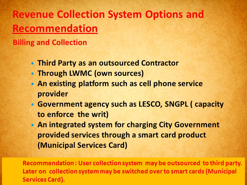 Revenue Collection System Options and Recommendation