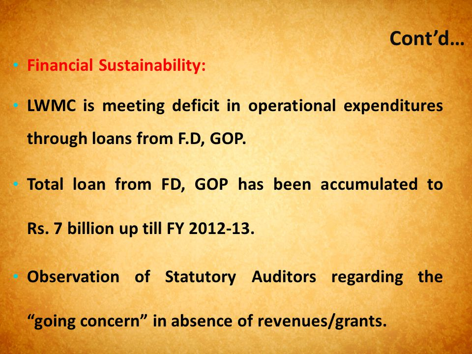 Cont'd… Financial Sustainability: