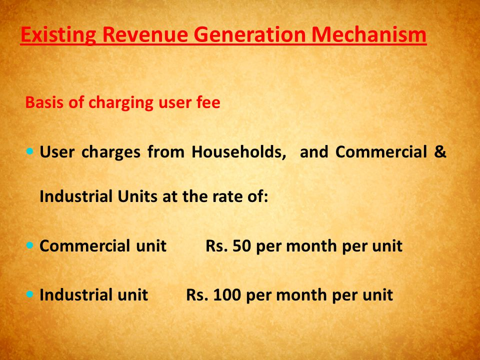 Existing Revenue Generation Mechanism