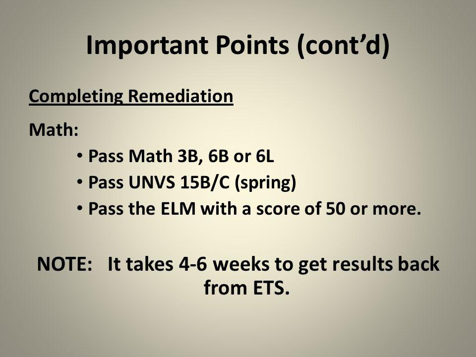 Important Points (cont'd)