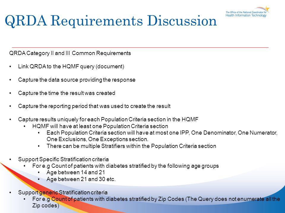 QRDA Requirements Discussion